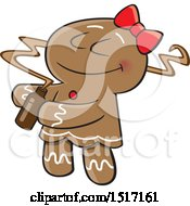 Clipart Of A Cartoon Gingerbread Woman Smelling A Fragrance Royalty Free Vector Illustration by toonaday
