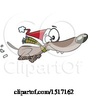 Cartoon Festive Christmas Dog Running In A Santa Hat And Scarf