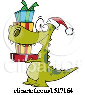 Clipart Of A Cartoon Dinosaur Wearing A Santa Hat And Carrying Christmas Gifts Royalty Free Vector Illustration