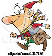 Clipart Of A Cartoon Christmas Elf With A Mail Pouch Royalty Free Vector Illustration