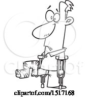 Cartoon Black And White Guy With His Leg In A Crazy Cast