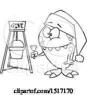 Cartoon Black And White Happy Monster Bell Ringing For Charity