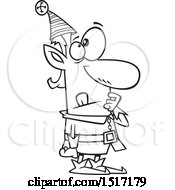 Clipart Of A Cartoon Lineart Christmas Elf In Thought Royalty Free Vector Illustration