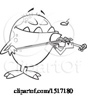 Clipart Of A Cartoon Lineart Monster Playing A Violin Royalty Free Vector Illustration