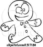 Clipart Of A Cartoon Lineart Gingerbread Man Running Royalty Free Vector Illustration by toonaday