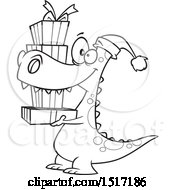 Clipart Of A Cartoon Lineart Dinosaur Wearing A Santa Hat And Carrying Christmas Gifts Royalty Free Vector Illustration
