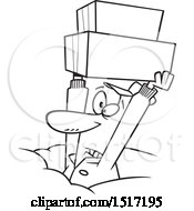 Clipart Of A Cartoon Lineart Dedicated Delivery Guy Holding Up Boxes In The Snow Royalty Free Vector Illustration