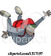 Cartoon Black Man Free Falling While Skydiving