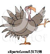 Clipart Of A Cartoon Turkey Bird Doing A High Strut Royalty Free Vector Illustration