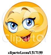 Poster, Art Print Of Yellow Happy Female Emoji