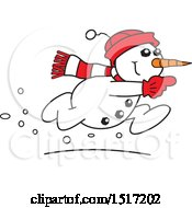 Clipart Of A Cartoon Running Snowman Royalty Free Vector Illustration