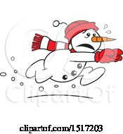 Clipart Of A Cartoon Scared Running Snowman Royalty Free Vector Illustration