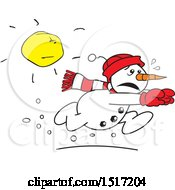 Clipart Of A Cartoon Snowman Running From The Sun Royalty Free Vector Illustration by Johnny Sajem