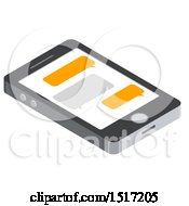 3d Smart Phone With Text Messages Icon