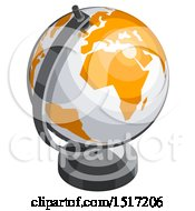 3d White And Orange Desk Globe Icon
