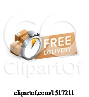 Clipart Of A 3d Stopwatch Boxes And Free Delivery Design Royalty Free Vector Illustration by beboy