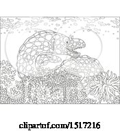 Clipart Of A Black And White Moray Eel At A Coral Reef Royalty Free Vector Illustration by Alex Bannykh