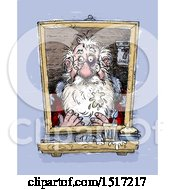Clipart Of A Sketched Santa Claus Looking In The Mirror After The Christmas Season Royalty Free Illustration
