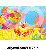Clipart Of A Happy Crab At A Coral Reef Royalty Free Vector Illustration