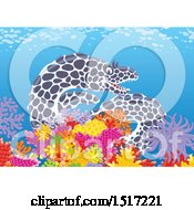 Clipart Of A Moray Eel At A Coral Reef Royalty Free Vector Illustration by Alex Bannykh