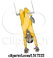 Clipart Of A Black Man On A Trapeze Royalty Free Vector Illustration