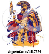 Clipart Of A Spartan Warrior Holding A Spear With Grunge Royalty Free Vector Illustration
