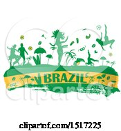 Clipart Of A Brazilian Culture Banner In Flag Colors With Silhouetted Icons Royalty Free Vector Illustration
