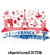 Clipart Of A French Culture Banner In Flag Colors With Silhouetted Icons Royalty Free Vector Illustration