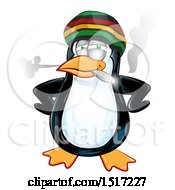 Clipart Of A Jamaican Rasta Penguin Smoking A Joint Royalty Free Vector Illustration by Domenico Condello