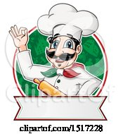 Clipart Of A Happy Italian Chef Holding A Rolling Pin Over A Circle Of Icons And A Banner Royalty Free Vector Illustration by Domenico Condello
