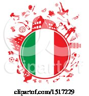Poster, Art Print Of Italian Flag Globe And Culture Travel Icons