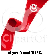 Clipart Of A Tunisia Ribbon Banner Flag Royalty Free Vector Illustration