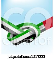 Clipart Of A Knotted United Arab Emirates Ribbon Flag Over Blue Royalty Free Vector Illustration