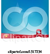 Poster, Art Print Of Vietnamese Ribbon Flag Over A Blue And White Background
