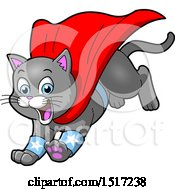 Clipart Of A Gray Super Hero Kitty Leaping With A Cape Royalty Free Vector Illustration by Clip Art Mascots
