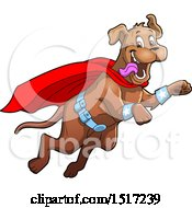Clipart Of A Happy Super Dog Flying To The Rescue Royalty Free Vector Illustration