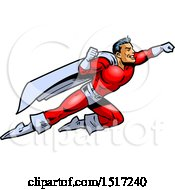 Clipart Of A Muscular Male Super Hero Flying To The Rescue Royalty Free Vector Illustration