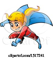 Clipart Of A Blond Manga Super Girl Flying Royalty Free Vector Illustration