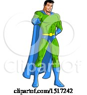 Clipart Of A Muscular Male Super Hero Pointing Outwards Royalty Free Vector Illustration