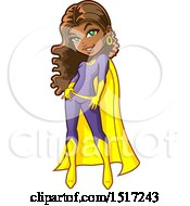 Clipart Of A Flirty Black Female Teenage Super Hero Royalty Free Vector Illustration by Clip Art Mascots