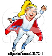 Clipart Of A Blond Super Girl Flying Royalty Free Vector Illustration