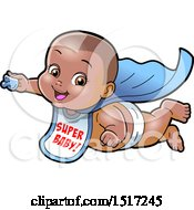 Clipart Of A Black Super Hero Baby Wearing A Bib And Flying With A Pacifier In Hand Royalty Free Vector Illustration