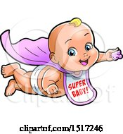Clipart Of A White Super Hero Baby Wearing A Bib And Flying With A Pacifier In Hand Royalty Free Vector Illustration