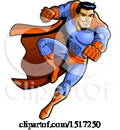 Clipart Of A Muscular Male Super Hero Fighting Royalty Free Vector Illustration
