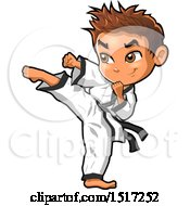 Clipart Of A Karate Boy Kicking Royalty Free Vector Illustration