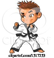 Clipart Of A Karate Boy In A Fighting Stance Royalty Free Vector Illustration