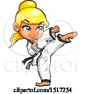Clipart Of A Blond Karate Girl Kicking Royalty Free Vector Illustration