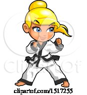 Clipart Of A Blond Karate Girl In A Fighting Stance Royalty Free Vector Illustration