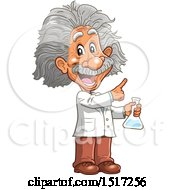 Clipart Of A Scientist Albert Einstein Holding A Beaker Royalty Free Vector Illustration