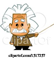 Cartoon Short Albert Einstein Scientist Holding A Pointer Stick